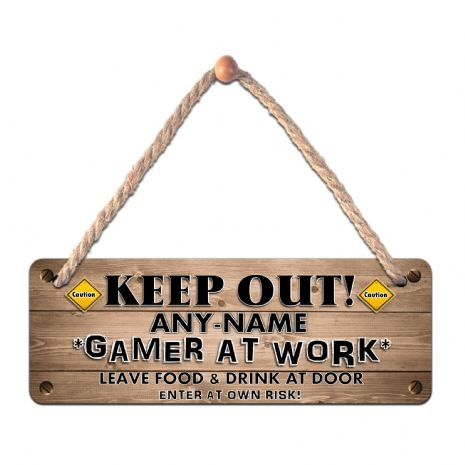 Personalised GAMER ANY NAME Hanging Sign Plaque N11